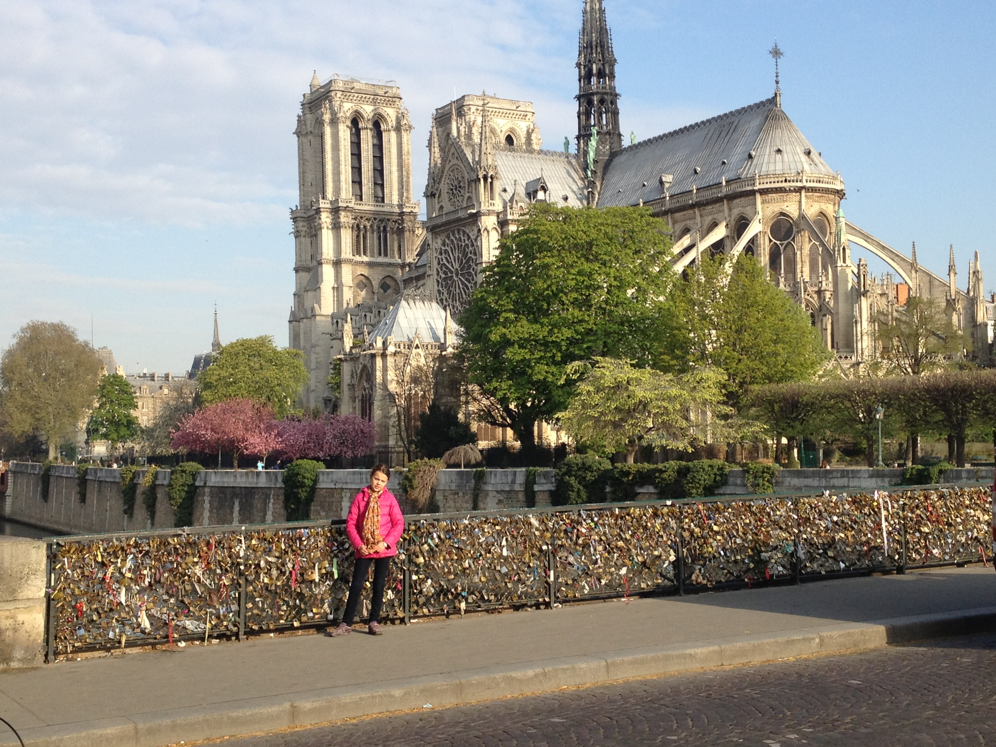 10-year-old Paula in front of Notre Dame