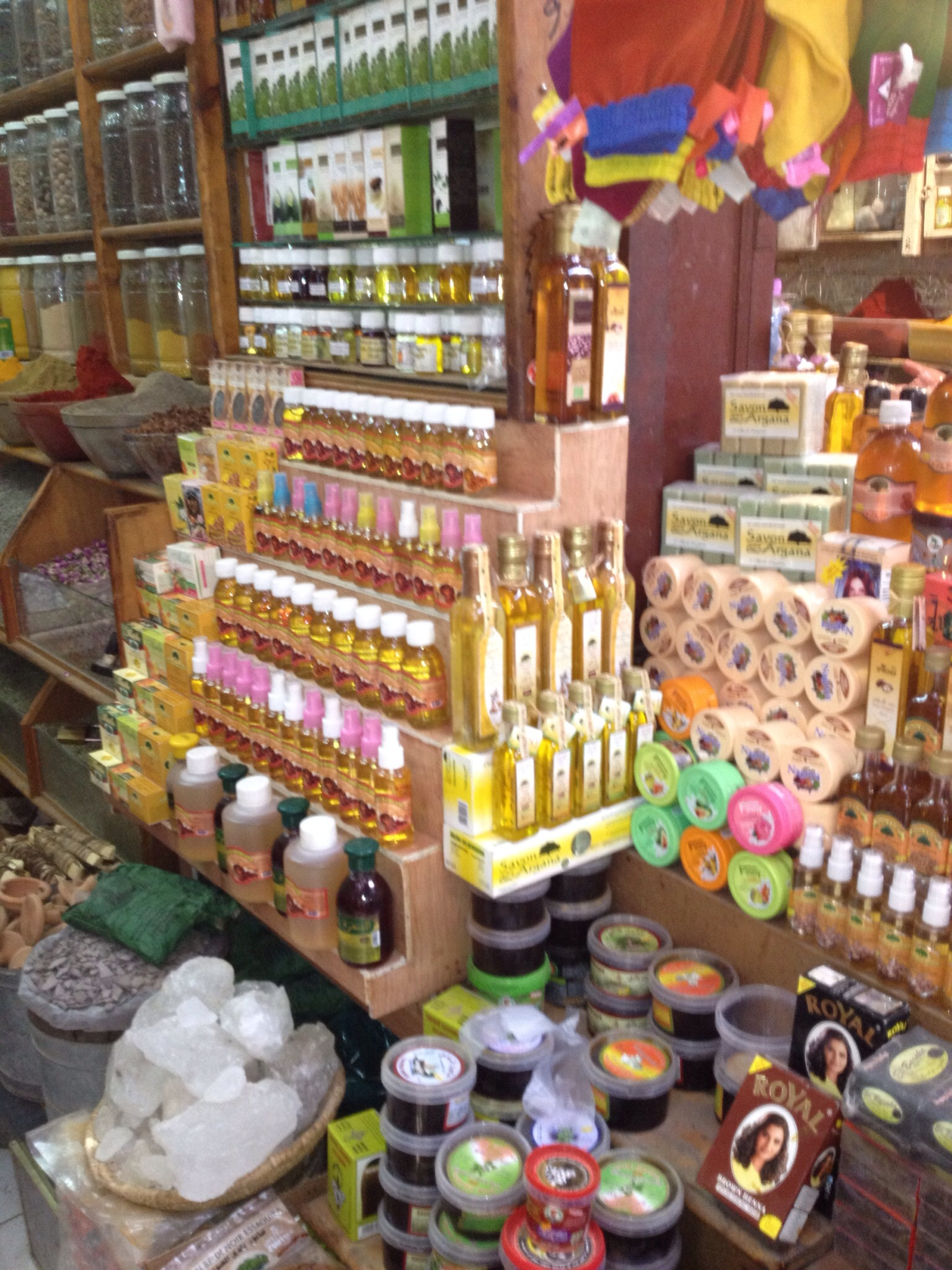 cosmetic stall in the souks of Marrakech