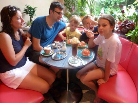 Family eating ice cream at EisKafe in Ennigerloh