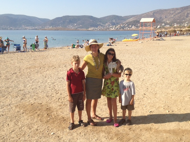 Family on the beach in Porto Rafti