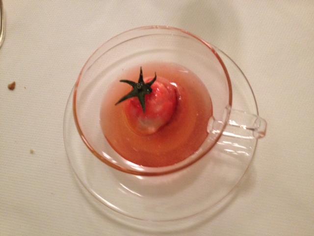 Amuse bouche - tomato in a gazpacho