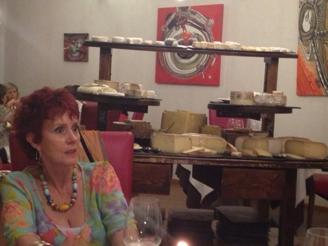 cheese trolley in restaurant