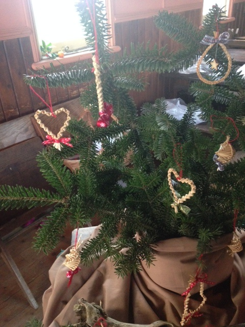 Christmas tree with handmade corn decorations