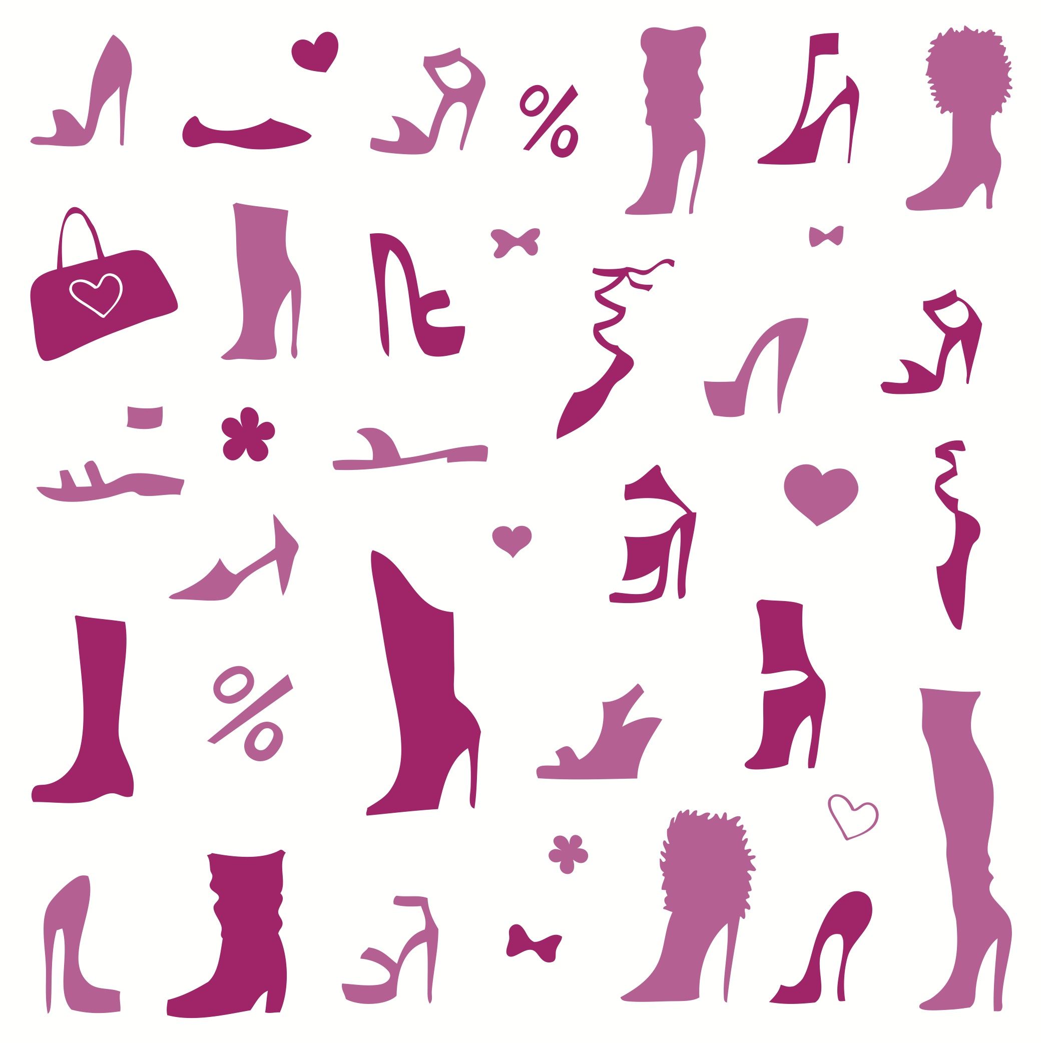 Pink women's shoes of different styles