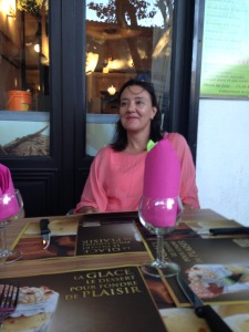 woman drinking wine in France